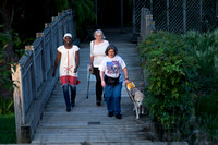 Three women walking across a bridge.  One using a guide dog and one using a white cane. Taken from a high angle